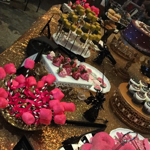 Dessert table package including marshmallow pops, gourmet strawberries, dazzling donuts, and gourmet pretzel rods