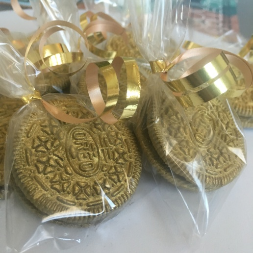 Custom gold Oreos individually wrapped